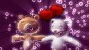 Royalty Free Video of Teddy Bears with Hearts and Bubbles