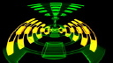 Royalty Free Video of Rotating Green and Yellow Triangular Shapes