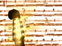 Royalty Free Clipart Image of the Neck of a Cello on a Sheet of Music