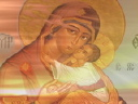 Royalty Free Video of the Madonna and Child Behind a Candlestick