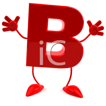 Royalty Free 3d Clipart Image of the Letter B Jumping