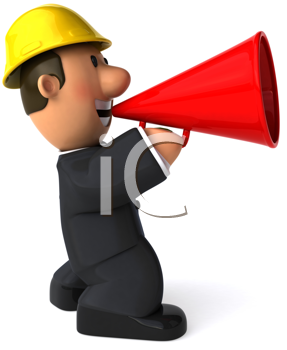 Royalty Free Clipart Image of a Man Wearing a Hard Hat Using a Bullhorn