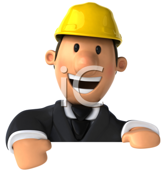 Royalty Free Clipart Image of a Man Wearing a Hard Hat