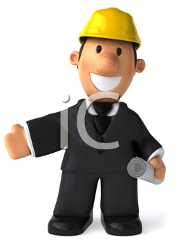 Royalty Free Clipart Image of a Man In a Hard Hat With His Right Arm Extended