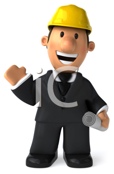 Royalty Free Clipart Image of a Man in a Suit and a Hard Hat Holding a Rolled Paper and Waving
