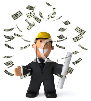 Royalty Free Clipart Image of a Man in a Hard Hat Surrounded by Falling Dollar Bills