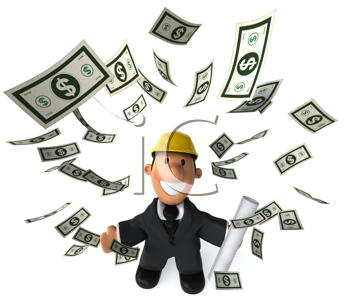 Royalty Free Clipart Image of an Architect Throwing Dollars