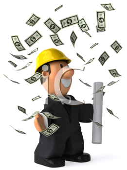 Royalty Free Clipart Image of an Architect Throwing Money Around