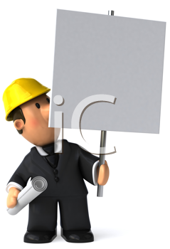 Royalty Free Clipart Image of an Architect With a Placard