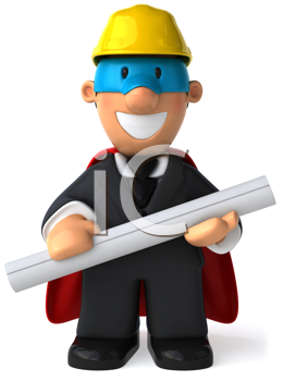Royalty Free Clipart Image of an Superhero Architect