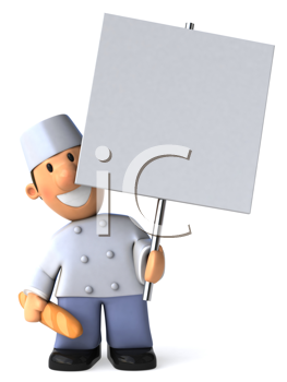 Royalty Free Clipat Image of a Baker With a Blank Sign