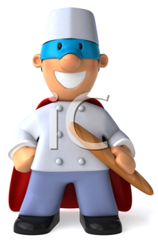 Royalty Free Clipart Image of a Masked Crusader Baker