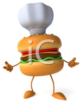 Royalty Free Clipart Image of a Burger Chef