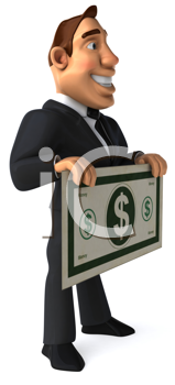 Royalty Free Clipart Image of a Guy in a Suit Holding a Big Dollar Bill