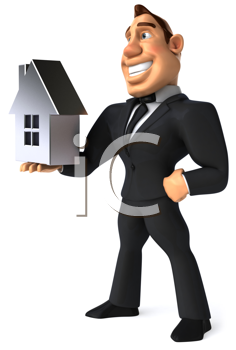 Royalty Free Clipart Image of a Businessman Holding a House
