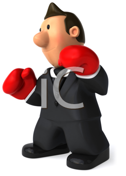 Royalty Free Clipart Image of a Businessman Wearing Boxing Gloves