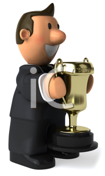 Royalty Free Clipart Image of a Businessman Holding a Trophy