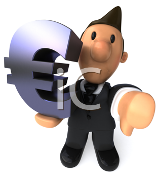 Royalty Free Clipart Image of a Business Man Giving a Thumbs Down and Holding an E-Commerce Sign