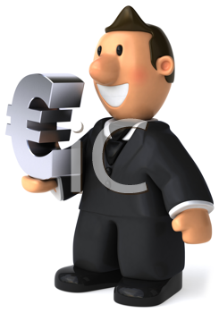 Royalty Free Clipart Image of a Businessman With a E symbol