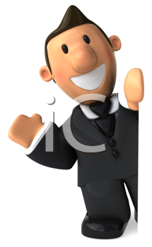 Royalty Free Clipart Image of a Waving Businessperson