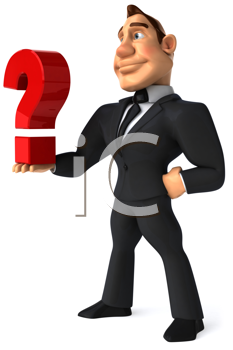 Royalty Free Clipart Image of a Businessman With a Question Mark in the Palm of His Hand