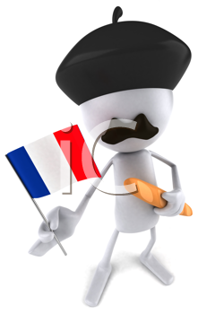 Royalty Free Clipart Image of a French Man Flying a Flag