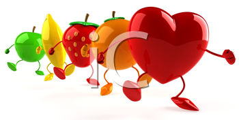 Royalty Free Clipart Image of a Heart Leading a Parade of Fruit