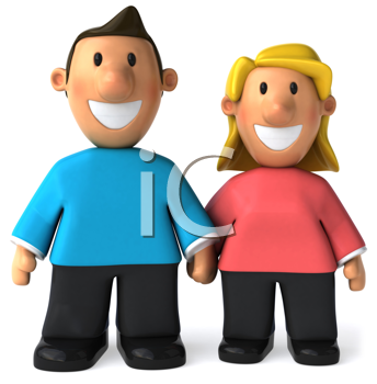 Royalty Free Clipart Image of a Happy Couple Holding Hands
