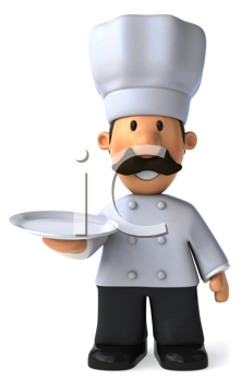 Royalty Free Clipart Image of a Chef Holding a Plate