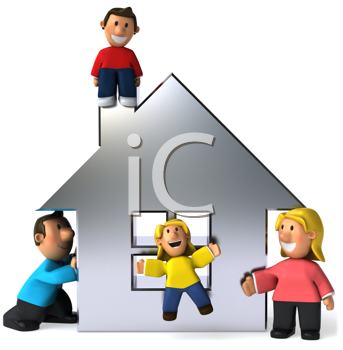 Royalty Free Clipart Image of a Happy Family Around a Silver House