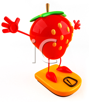 Royalty Free Clipart Image of a Strawberry on Bathroom Scales