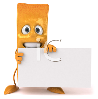 Royalty Free Clipart Image of a French Fry Holding a Blank Sign