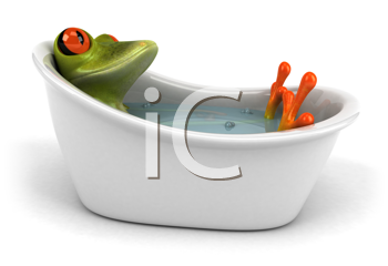 Royalty Free Clipart Image of a Frog in a Bathtub