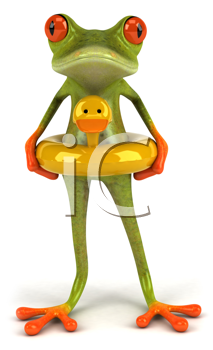 Royalty Free Clipart Image of a Frog With a Duck Float