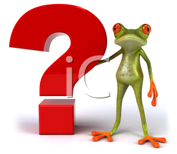 Royalty Free Clipart Image of a Frog Standing Beside a Question Mark