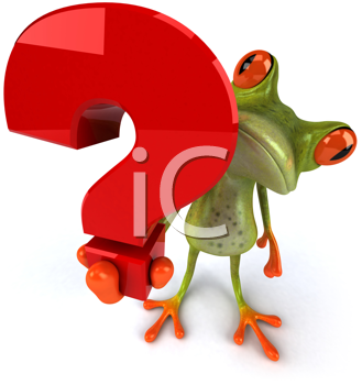 Royalty Free Clipart Image of a Frog With a Question Mark