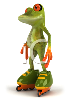 Royalty Free Clipart Image of a Frog on Roller Skates