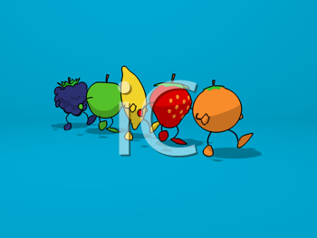 Royalty Free Clipart Image of Fruit on a Walk