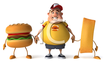 Royalty Free Clipart Image of an Overweight Man Holding Hands With a Burger and a French Fry