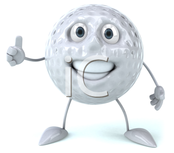 Royalty Free Clipart Image of a Golf Ball Giving a Thumbs Up