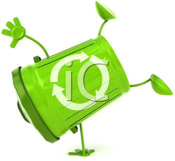 Royalty Free Clipart Image of a Green Recycling Can Doing a Handstand