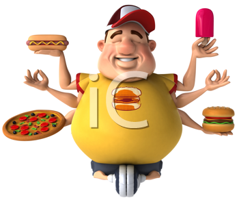 Royalty Free Clipart Image of a Chubby Guy Holding Junk Food and Meditating With Six Arms
