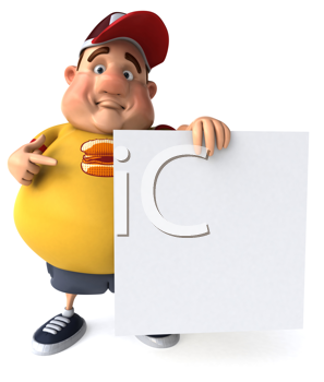 Royalty Free Clipart Image of a Chubby Guy With a Sign