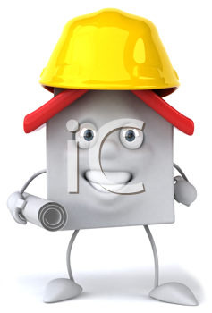 Royalty Free Clipart Image of a House in a Hard Hat Carrying Designs