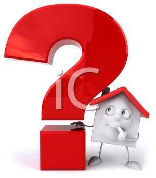 Royalty Free Clipart Image of a House and a Question Mark