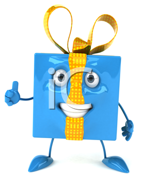 Royalty Free Clipart Image of a Blue Package Giving a Thumbs Up