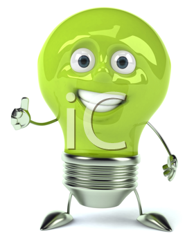 Royalty Free Clipart Image of a Green Lightbulb Giving a Thumbs Up