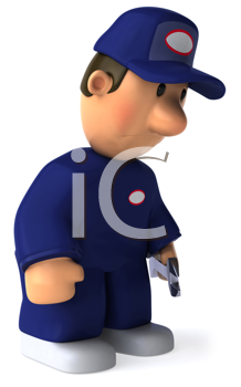 Royalty Free Clipart Image of a Dejected Mechanic