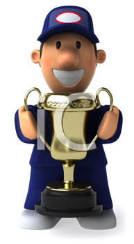 Royalty Free Clipart Image of a Mechanic With a Cup