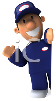 Royalty Free Clipart Image of a Mechanic Waving
